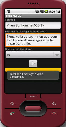 Spammysms envoyer des spams sms via android for Miroir application android